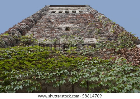 Perspective view of an old tower - stock photo