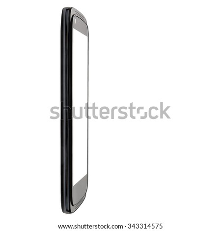 Perspective view of black big modern smartphone blank screen isolated