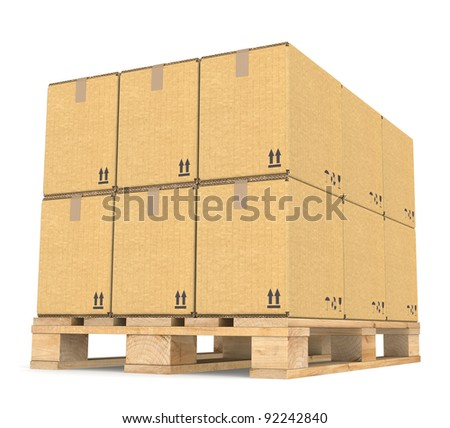 Perspective view of Cardboard boxes on a Pallet. Part of Warehouse series. - stock photo