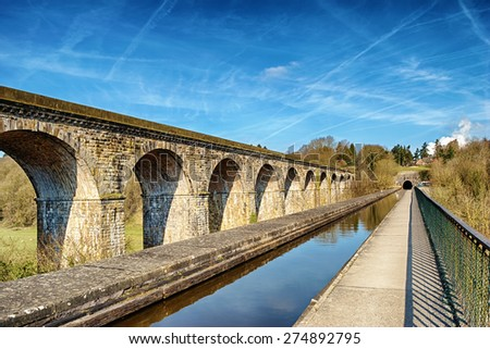 Perspective view of Chirk viaduct and aquaduct. - stock photo