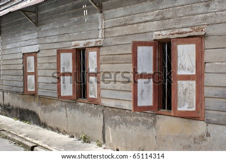 Perspective view of early settler's house, Malaysia - stock photo