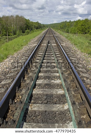 Perspective view of empty railroad track.  Vertical composition of railway.