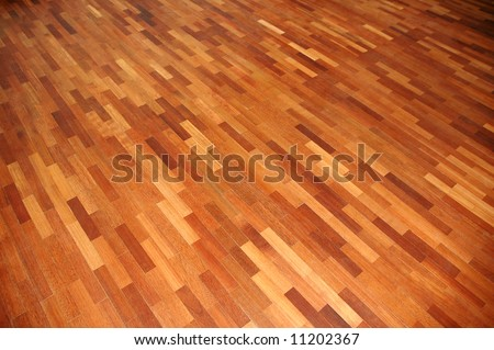 Perspective view of parquet wooden floor plank