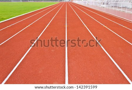 perspective view of running track lines - stock photo
