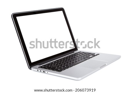 Perspective view of single laptop, isolated on white background.