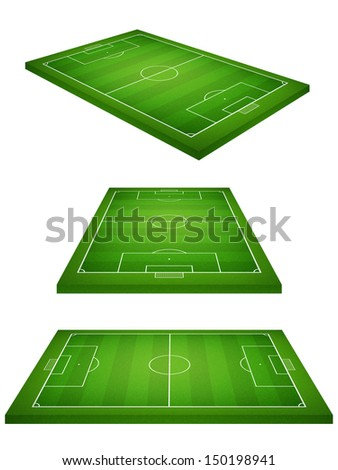 Perspective view of soccer field on white background - stock photo