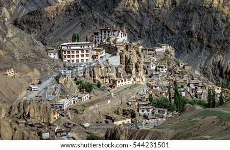 Perspective view of the Lamayuru village is also called the Yuru Gompa (monastery) - Tibet, Kargil District, Leh district, Western Ladakh, Himalayas, Jammu and Kashmir, Northern India