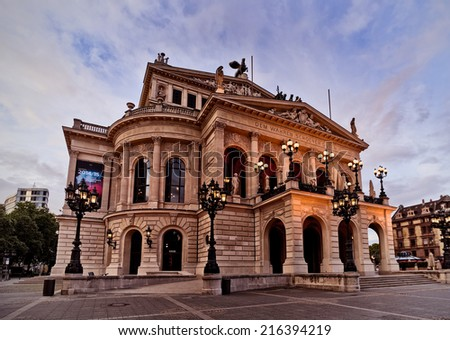 perspective view of the old opera building at dawn in Frankfurt, Germany - stock photo