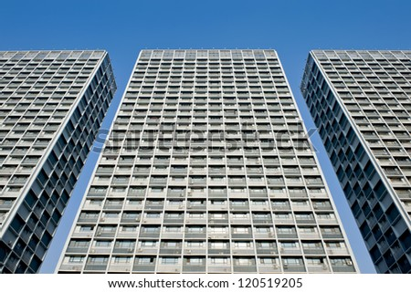 Perspective view of the residential buildings in Shenyang, China. - stock photo