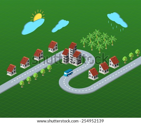 Perspective view of the village houses - stock photo