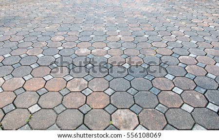 Perspective View Of Various Color Grunge Brick Stone On The Ground For  Street Road. Sidewalk