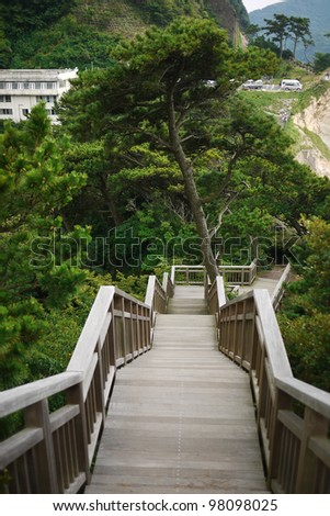 Perspective view of wooden staircases surrounded by trees. - stock photo