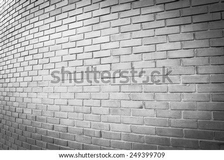 perspective white brick wall texture background - stock photo