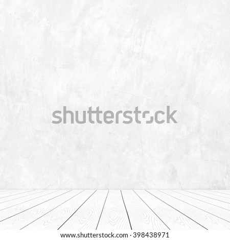 Perspective white wood over cement wall background, room, table, interior design, product display montage, vintage style