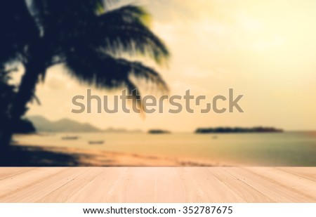 Perspective wood and Sunset on Samui beach,Thailand. Vintage tone. - stock photo