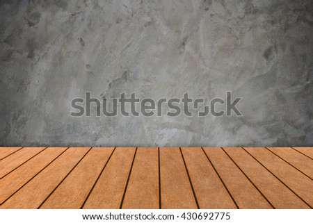 perspective wood plank floor with over concrete architectural bare concrete. Loft style.