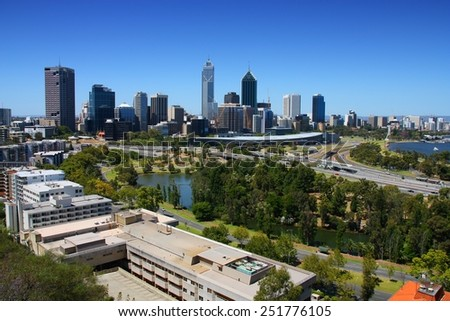 Perth, Australia. City skyline view from Kings Park. Australian urban cityscape.