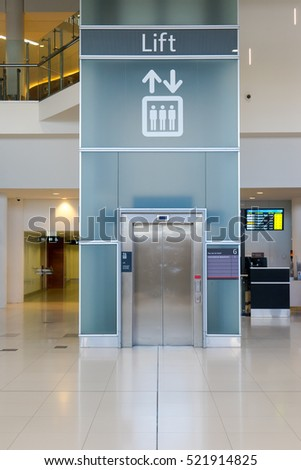 PERTH, AUSTRALIA - NOVEMBER 12,2016 : Lift of the airport , Perth Airport is a domestic and international airport serving Perth, the capital and largest city of Western Australia.