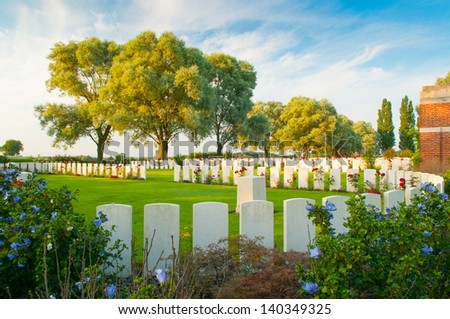 Perth Cemetery (China Wall) in Ypres - stock photo