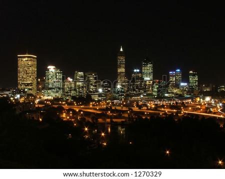 Perth city aglow at night - stock photo