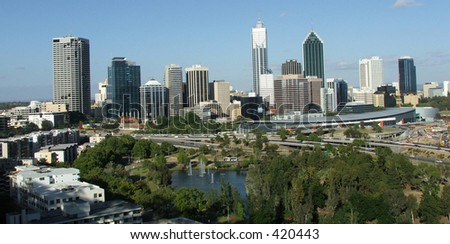 Perth city as viewed from Kings Park - stock photo