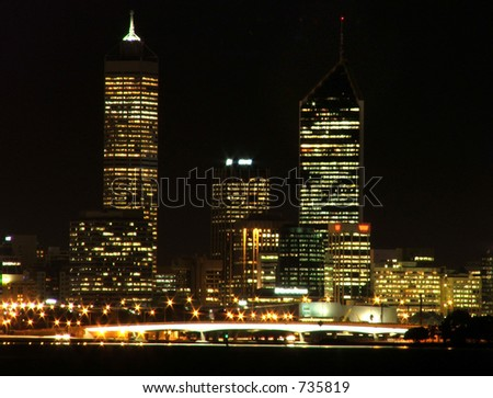 Perth city at night from King's Park - stock photo