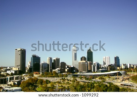 Perth Cityscape as viewed from Kings Park - stock photo