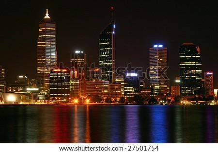 Perth cityscape at night - stock photo
