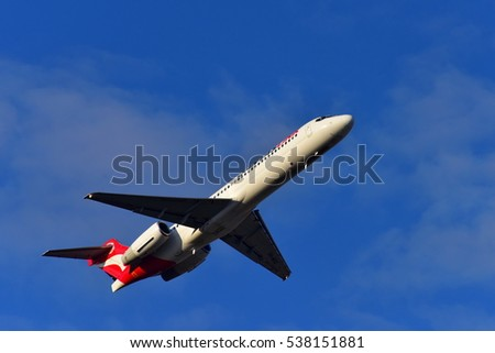 PERTH - MAY 24: Qantas Link Boeing 717 regional jet taking off from Perth Airport on May 24, 2015 in Perth, Australia
