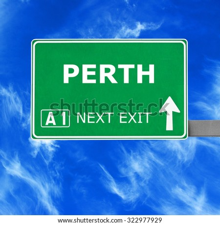 PERTH road sign against clear blue sky