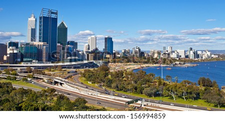 Perth's skyline, western Australia - stock photo