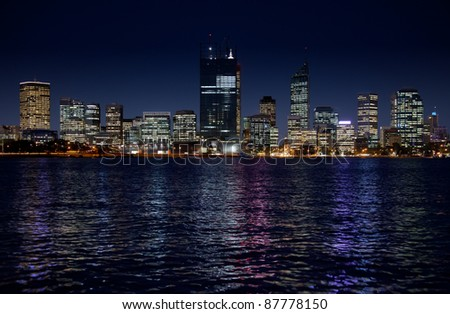 Perth Skyline, Capital of Western Australia during the construction of multiplex skyscraper during the Queen of England's visit in October 2011, All logos removed - stock photo