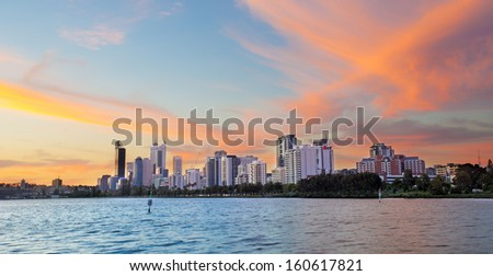 Perth skyline during sunset, west Australia  - stock photo
