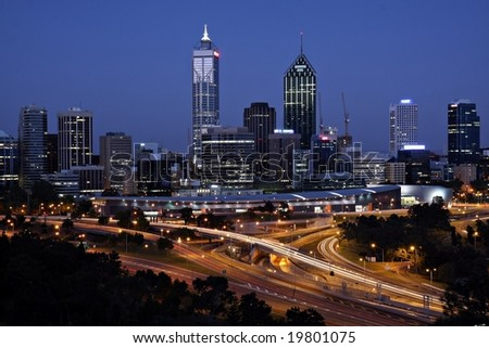 Perth Skyline from Kings Park by Night - stock photo