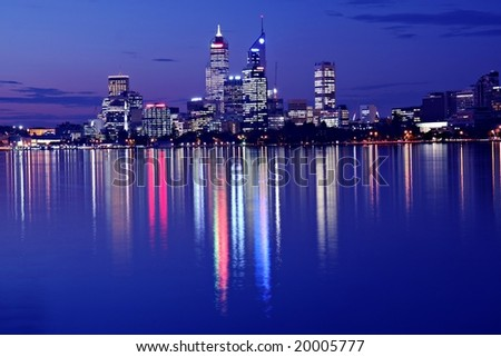 Perth Skyline from Swam River by Night - stock photo