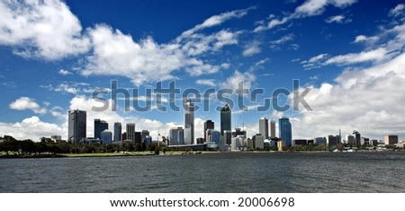 Perth Skyline from Swan River - stock photo