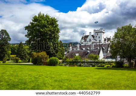 Perthshire, Scotland - July 27, 2012:  Blair Atholl, the Blair castle, home of the Duke of Athool, seen from the garden.