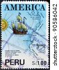 PERU-CIRCA 1991:A stamp printed in PERU dedicated to the discovery of America by Columbus shows image of Americas also known as the New World, circa 1991. - stock photo