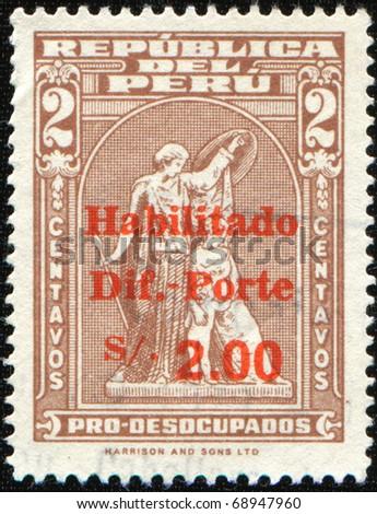 PERU - CIRCA 1943: A stamp printed in Peru shows Athena, postal tax, series, circa 1943 - stock photo