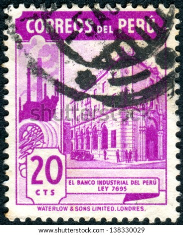 PERU - CIRCA 1938: A stamp printed in Peru shows the Industrial Bank in Lima, circa 1938