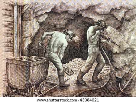 PERU - CIRCA 1985: Miners on 5000 soles de oro 1985 banknote from Peru. - stock photo
