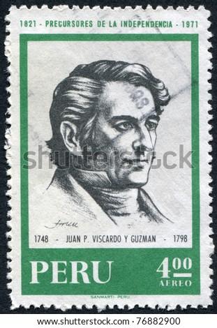 PERU - CIRCA 1971: Postage stamps printed in Peru, shows Juan Pablo Vizcardo y Guzman, circa 1971 - stock photo
