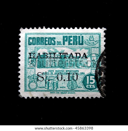 PERU - CIRCA 1930s: A stamp printed in Peru shows Exhibits of the Archaeological Museum - Lima, circa in 1930s