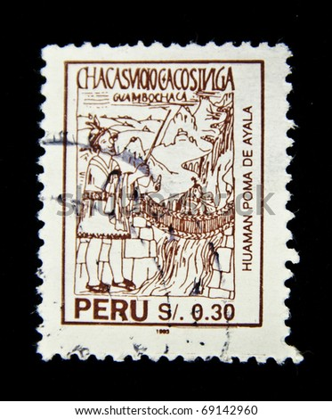 PERU- CIRCA 1993: stamp printed by Germany, shows Indians in the mountains near the waterfall, circa 1993.