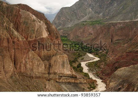 Peru, Cotahuasi canyon. The wolds deepest canyon. The canyon also shelters several remote traditional rural settlements. - stock photo