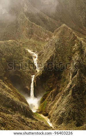 Peru, Cotahuasi canyon. The wolds deepest canyon. The canyon also shelters several remote traditional rural settlements. View no the Oskune waterfallsnear Pampamarca village - stock photo