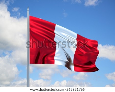 Peru 3d flag floating in the wind with a blue sky in the background - stock photo