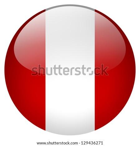 Peru flag button - stock photo