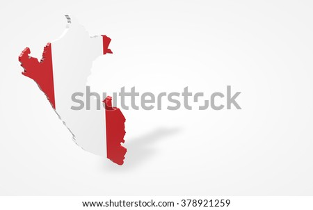 Peru flag 3d perspective view isolated
