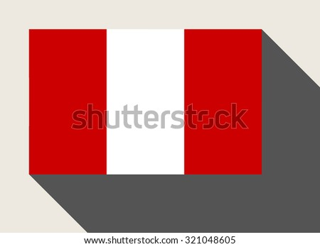 Peru flag in flat web design style. - stock photo